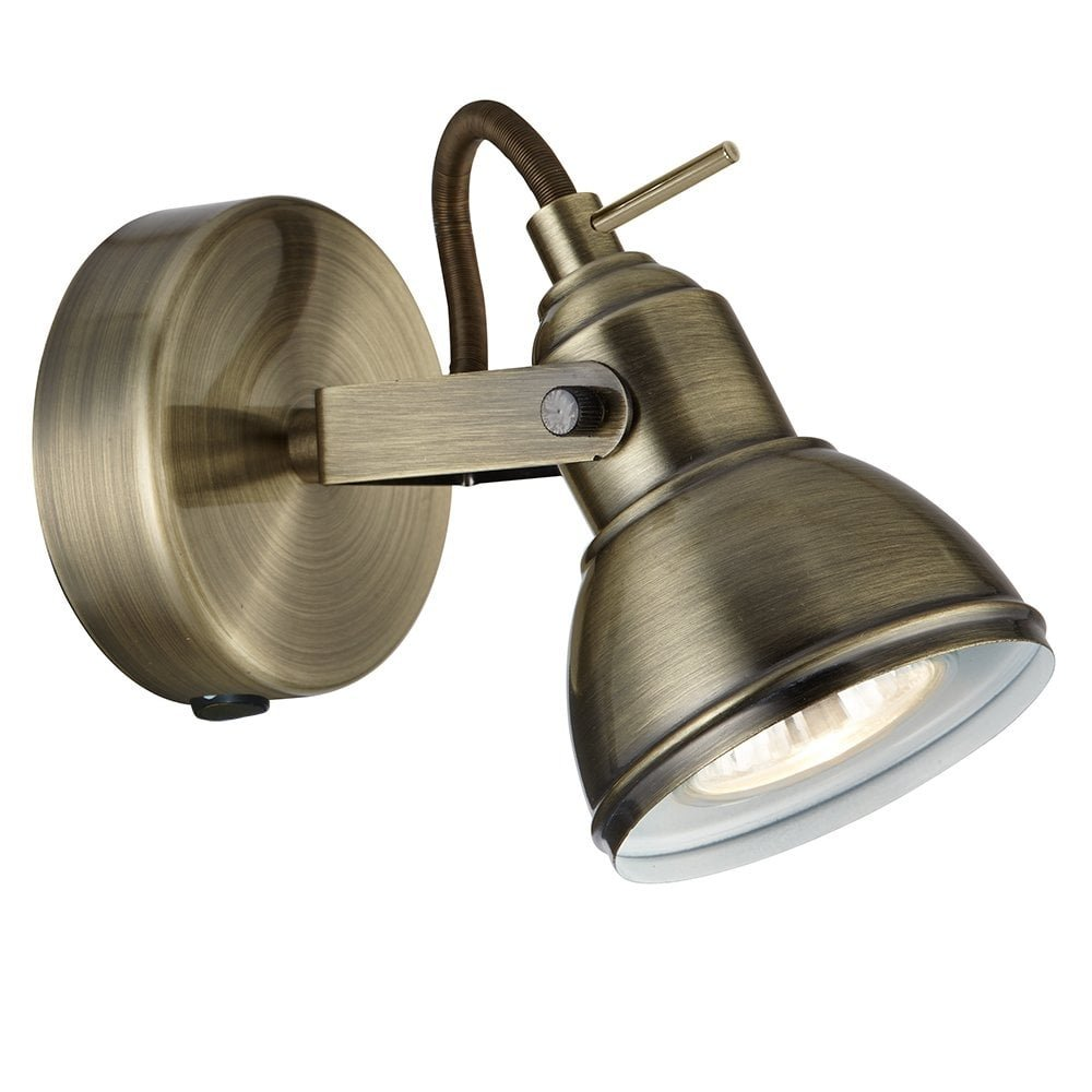 Antique Brass Finish Vintage Retro Style 1 Way Wall or Ceiling Spotlight Fitting with 1 x 50 Watt Halogen GU10 THLC