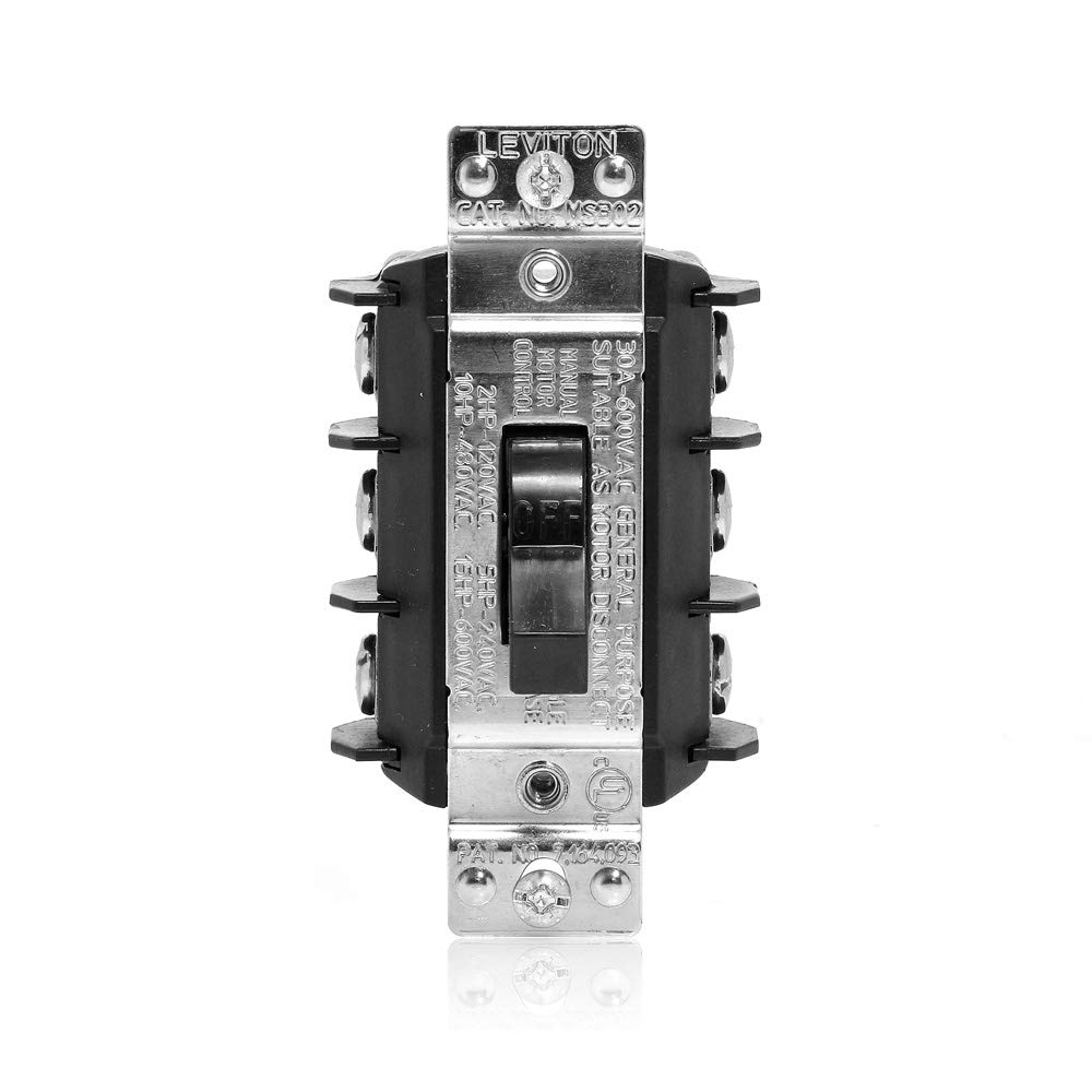 Leviton MS303-DS 30 Amp 600 Volt, Three-Pole, Three Phase AC Motor Starter,  Suitable as Motor Disconnect, Toggle, Industrial Grade, Non-Grounding,