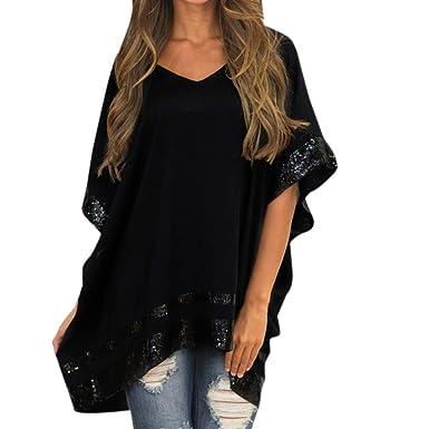 67711f136fb WOCACHI Vanlentine Day Women Blouse Plus Size V-Neck Half Sleeve Short  Sleeve Sparkly Capelet
