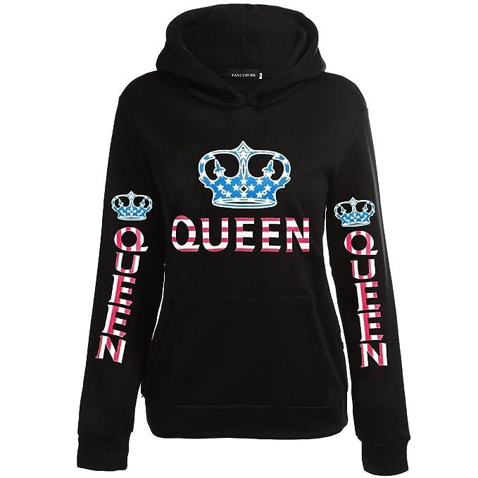 Pareja KING & QUEEN Corona Sudaderas con Capucha Encapuchado Jersey Hoodie Camisas para Mujeres y Hombres