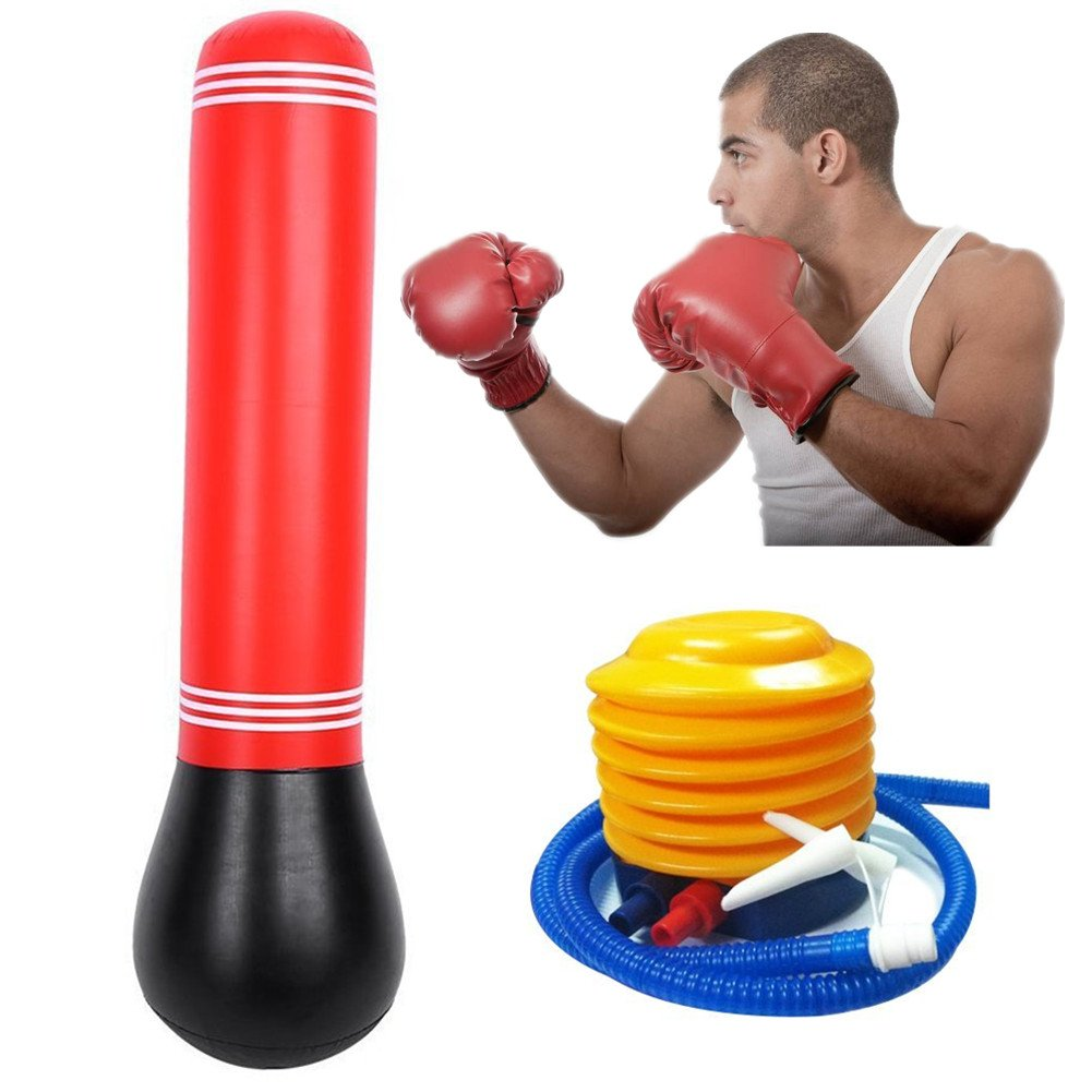 Yosoo 63inch Tall Inflatable Stress Punch Tower Free Standing Box Boxing Fun Workout Bag + Free Foot Pump