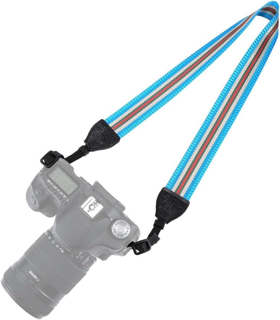 Dark Red Color : Lake Blue GzPuluz Camera Case Bag Stripe Style Series Shoulder Neck Strap Camera Strap for SLR//DSLR Cameras