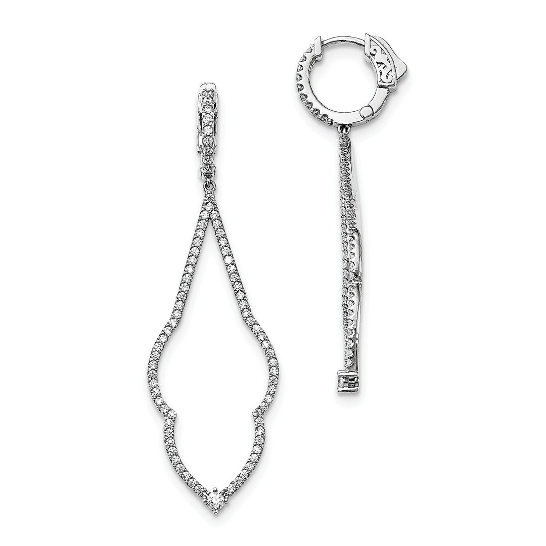 ICE CARATS 925 Sterling Silver Cubic Zirconia Cz Hinged Hoop Drop Dangle Chandelier Earrings Fine Jewelry Gift Set For Women Heart