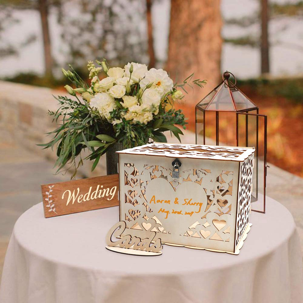 O-heart DIY Wood Wedding Card Box, Rustic Gift Box with Lock Wedding Money Box Hollow Hearts Shaped Gift Card Box and Card Sign for Wedding Reception Baby Shower Birthday Party Graduation Anniversary