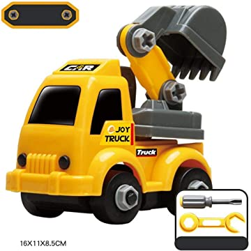 Gatied Children Plastic Yellow Mini Excavator Assembled Engineering Car Toy Play Vehicles