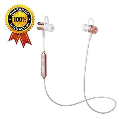 Wireless Bluetooth Running Headphones, Klokol Sports Headphones Lightweight Stereo Noise Cancelling Sweatproof With Mic Earbuds Cordless Earphones In Ear Headsets For I Phone Gym Workout (Rose Gold) by Klokol