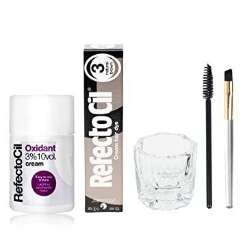 Refectocil Cream 15ml, Cream Oxidant 3%, Mascara Brush, Mixing Jar (Natural
