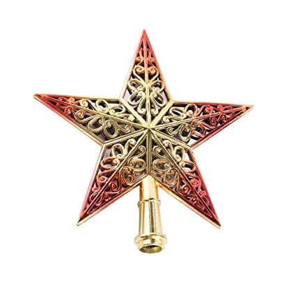 Puntale Albero Di Natale.Cavita Stella Puntale Albero Di Natale Decorazioni Natalizie Brillante Rosso E Oro 20cm 7 9