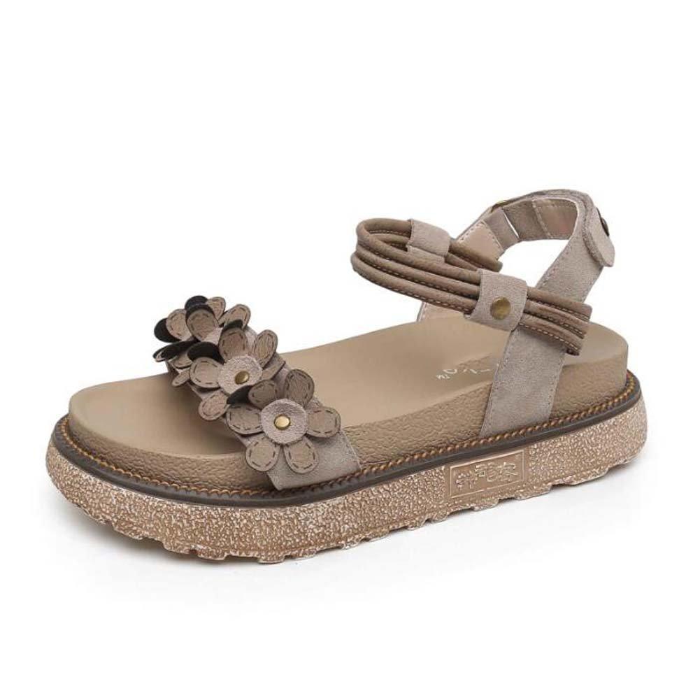 MYI Frauen Plattform Sandalen Dicken Boden Schuhe Wildblumen Retro Rouml;mischen Schuhe Kamel Farbe/Khaki Grouml;szlig;e 34-43  38 EU|Khaki