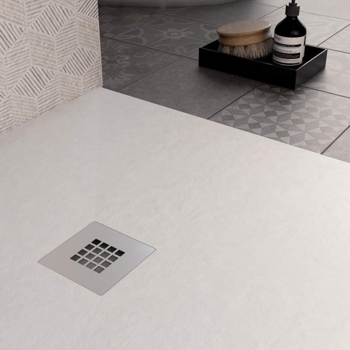 Receveur de douche blanc en marbre min/éral pierre Plus exclusive 80 x 100 cm.