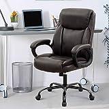 Big Tall Office Chair PU Leather Executive Ergonomic Heavy Duty Desk Chair Rolling Swivel Adjustable Task Chair High Back Com