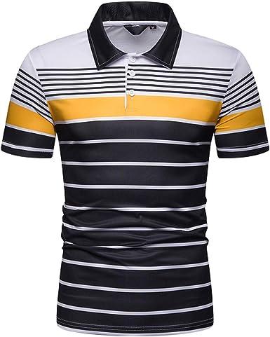 Moda de Hombre Camisas Slim Patchwork Raya Ropa Hombre Camisa de Manga Corta Camiseta Hombre para Hombres: Amazon.es: Ropa y accesorios