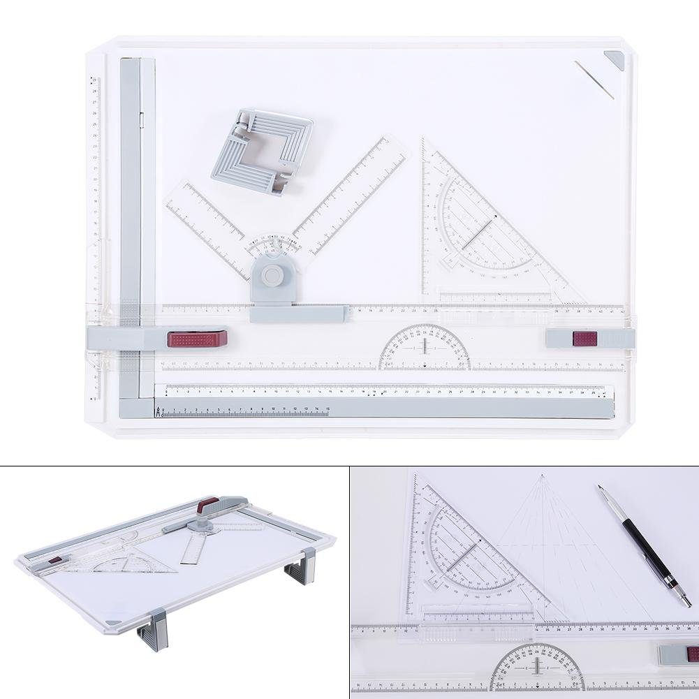 Zerone A3 Drawing Board, A3 Drawing Board Table Box Pad Set Multi Function Magnetic Clamping Bar with Parallel Motion and Adjustable Angle Rulers