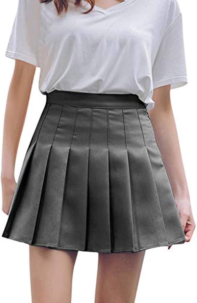 SIMYJOY Women High Waist Pleated Mini Skirts Girls Skater Tennis School Skirt Casual Basic A-Line Skirt Mini Dress