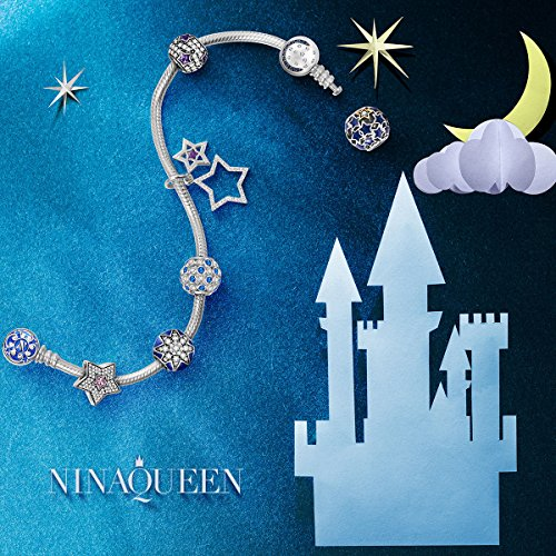 "NinaQueen ""Starry Sky"" 925 Sterling Silver Moon and Star Stopper Clip Charm"