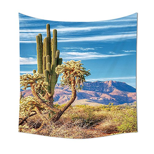 Western Organpipe Cactus Arizona Dream Sonoran Desert Sunrise Superstition Wilderness Loneliness Panorama Wild West Spirit Tapestry Wall Hanging Living Room Bedroom Dorm Decor Lime Brown Blue