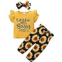 ZOEREA Conjunto de Ropa de Bebé Niña Encantador Manga Larga Tops con Volantes + Pantalones Floral + Venda Recién Nacido…