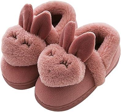 Cattior Toddler Winter Cute Bear Slippers Fluffy Slippers