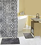 Complete 15 Piece Bath Set with 2 Memory Foam Bath Mats, Shower Curtain and Hooks in Grey