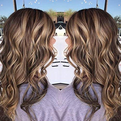 Ugeat 14Inch Lace Front Wigs Human Hair Pinao Color Dark Brown Highlight with Blonde 4/16 Body Wave Wavy Wigs Natural Looking Front Lace Wig for White Women 130% Density