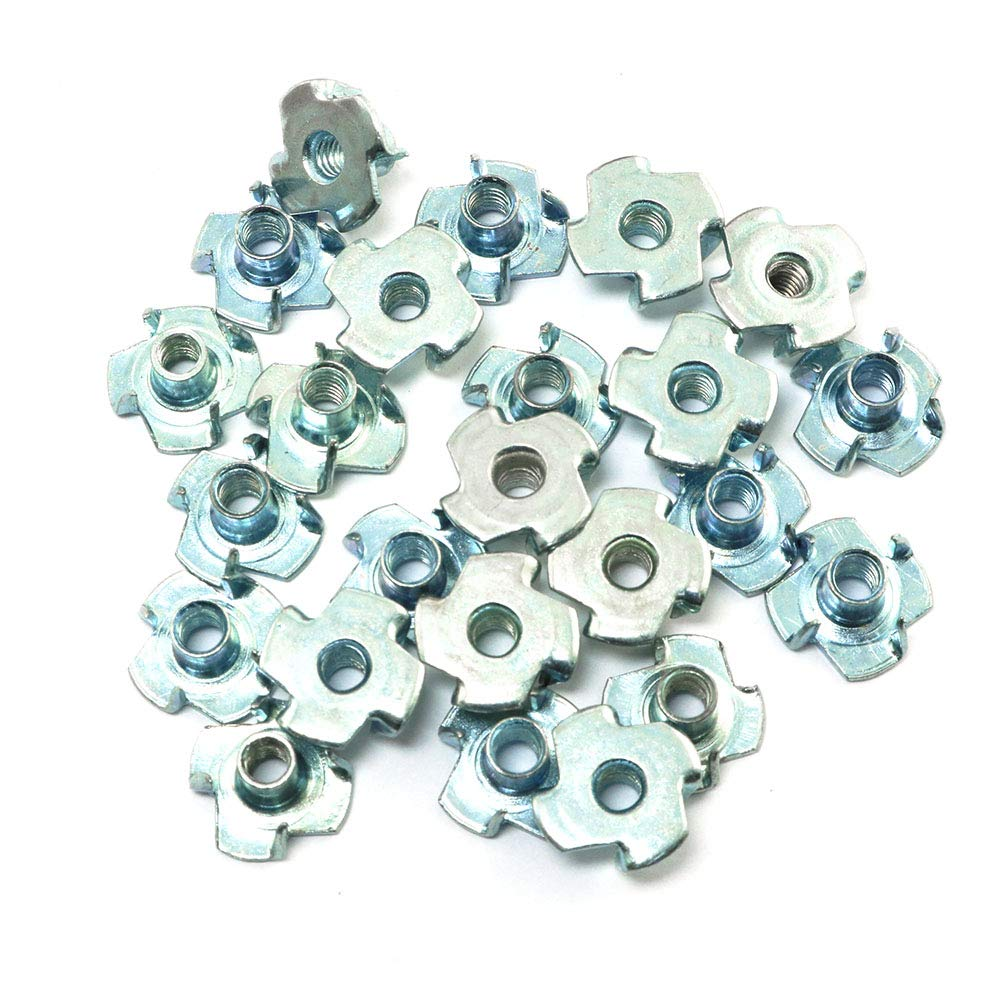 10mm Height Threaded Insert Four Prong T Nuts Pro Bamboo Kitchen 24pcs #8-32 T-Nuts