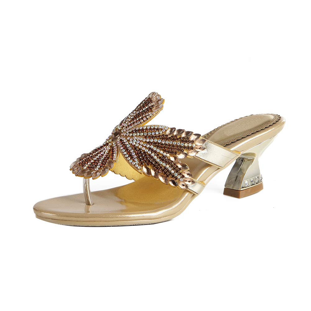gold Women's Shining Crystal Maple Leaf Pattern Manual Sandals Platform Evening Rhinestone High Heels Wedding Slippers