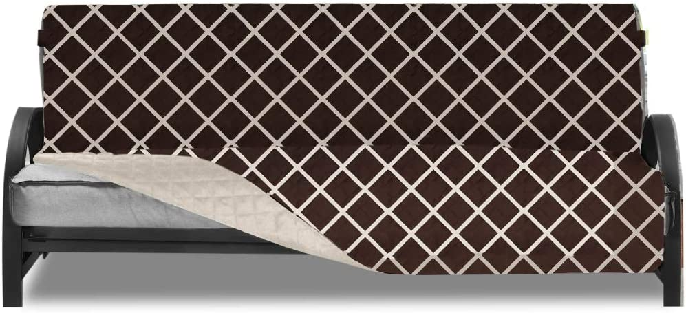 Sofa Shield Original Patent Pending Reversible Futon Protector, Many Colors, Seat Width to 70 Inch, Furniture Slipcover, 2 Inch Strap, Daybed Couch Slip Cover Throw for Pets, Diamond Chocolate Beige