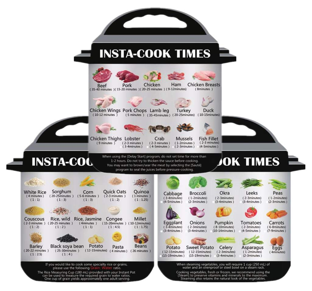 3 in 1 magnetic cheat sheet for instant pot cooking 45 common food memorandum