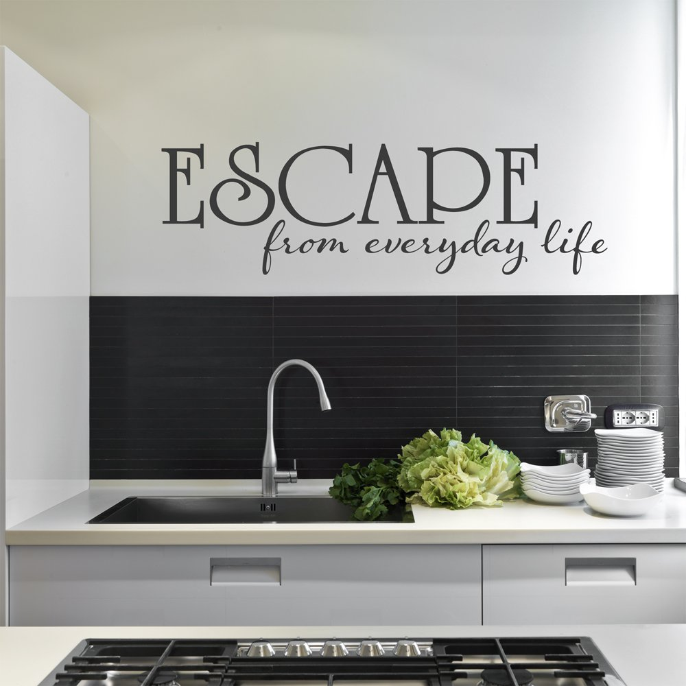 Escape From Everyday Life Quote Vinyl Wall Decal Sticker Art, Removable Home Decor, Yellow, 35in x 10in