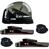 RV Wholesale Direct Dish Bundle DTP4900 Tailgater PRO Premium Satellite TV Antenna w/ 2 Wally Receivers with Additional 50' C