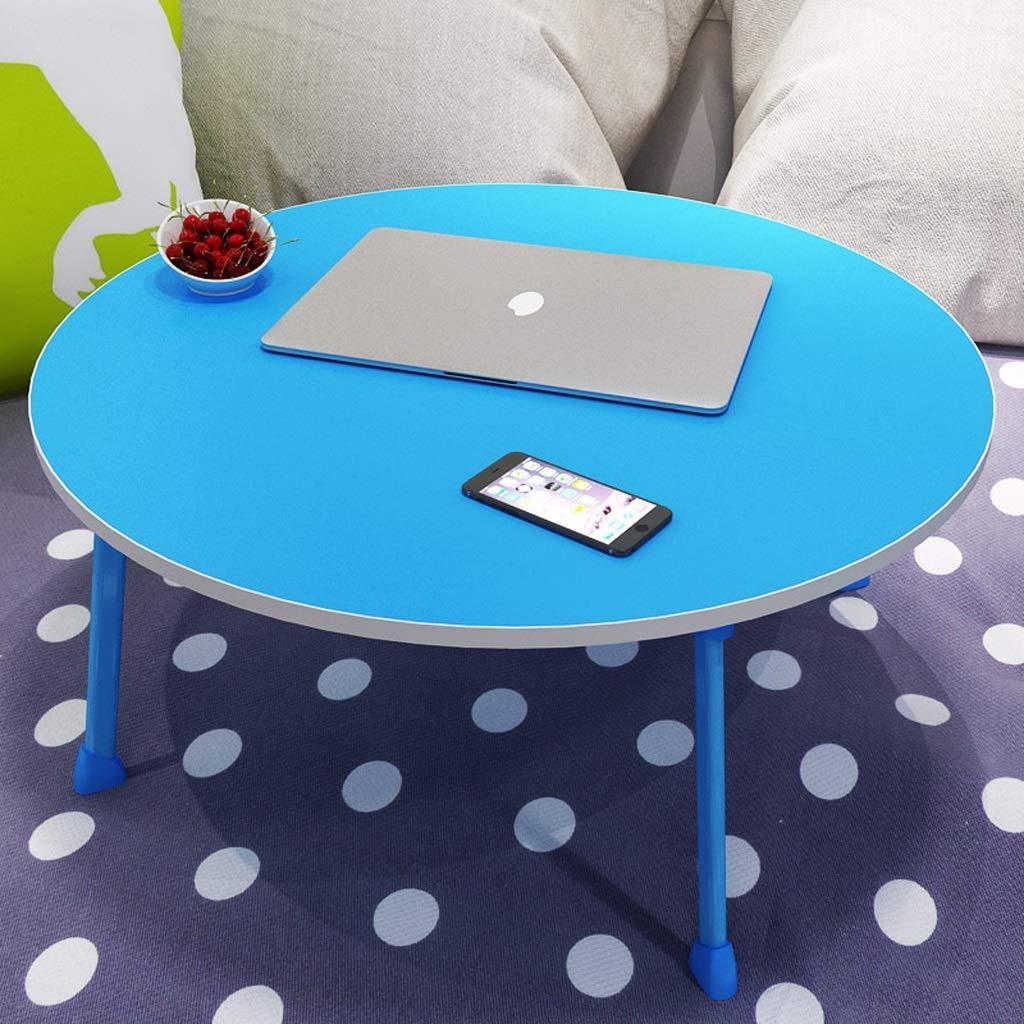 BETTY テーブル ノートブック型寮の机、スモールラウンドデスク、ベッドの上のノートパソコンテーブル、折りたたみ式テーブル、スモール寮の折りたたみ式机、カップ付き (Color : Blue)  Blue B07TJYL77N