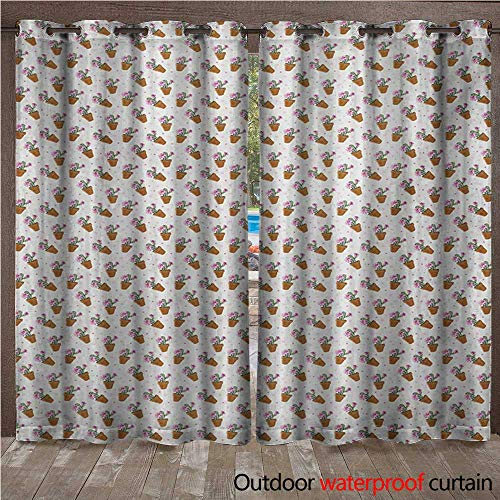 WilliamsDecor Succulent 0utdoor Curtains for Patio Waterproof Exotic Cactus Plants with Pink Blossoms and Little Dots in Flower Pots W84 x L96(214cm x 245cm) ()