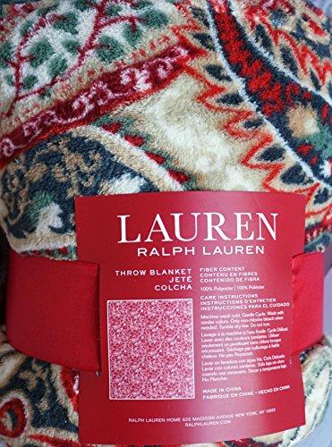 Lauren Ralph Lauren Plush Fleece Throw Blanket Paisley Pattern in Shades of Red Green Cream