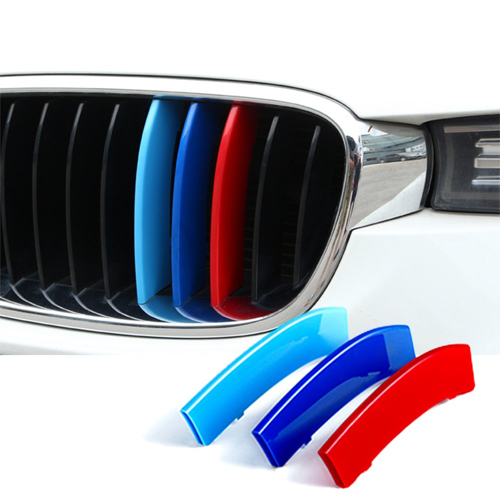 Car Front Grille Strip Insert Trim Cover for BMW 3 Series F30 13-17 3D M-Colored Stripes(8 Beams) Atreus