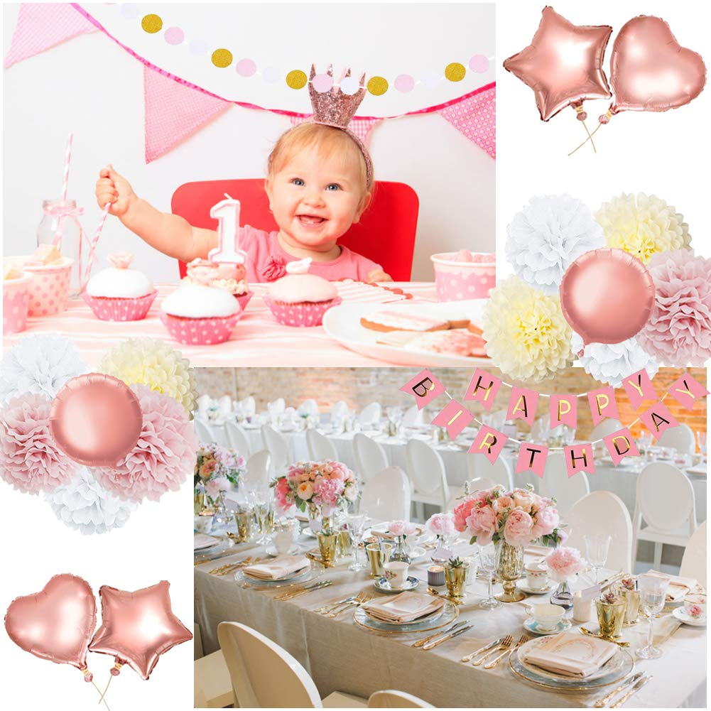 59Pack Birthday Party Decorations Rose Gold Banner For Girls And Women