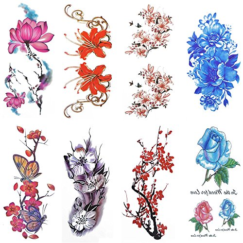 COKOHAPPY Large 8 Sheets Watercolor Temporary Tattoos for Girls Women Plum Lotus Chrysanthemum Peony Rose Lily Peach Arm Shoulders Waist Chest Back Night Show -