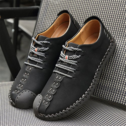 up Shoes Loafers Sneakers Style Men's Suede Flats Shoes Lace Oxford Brown Black Black Handmade British Leather Casual Yellow PXqUOXv