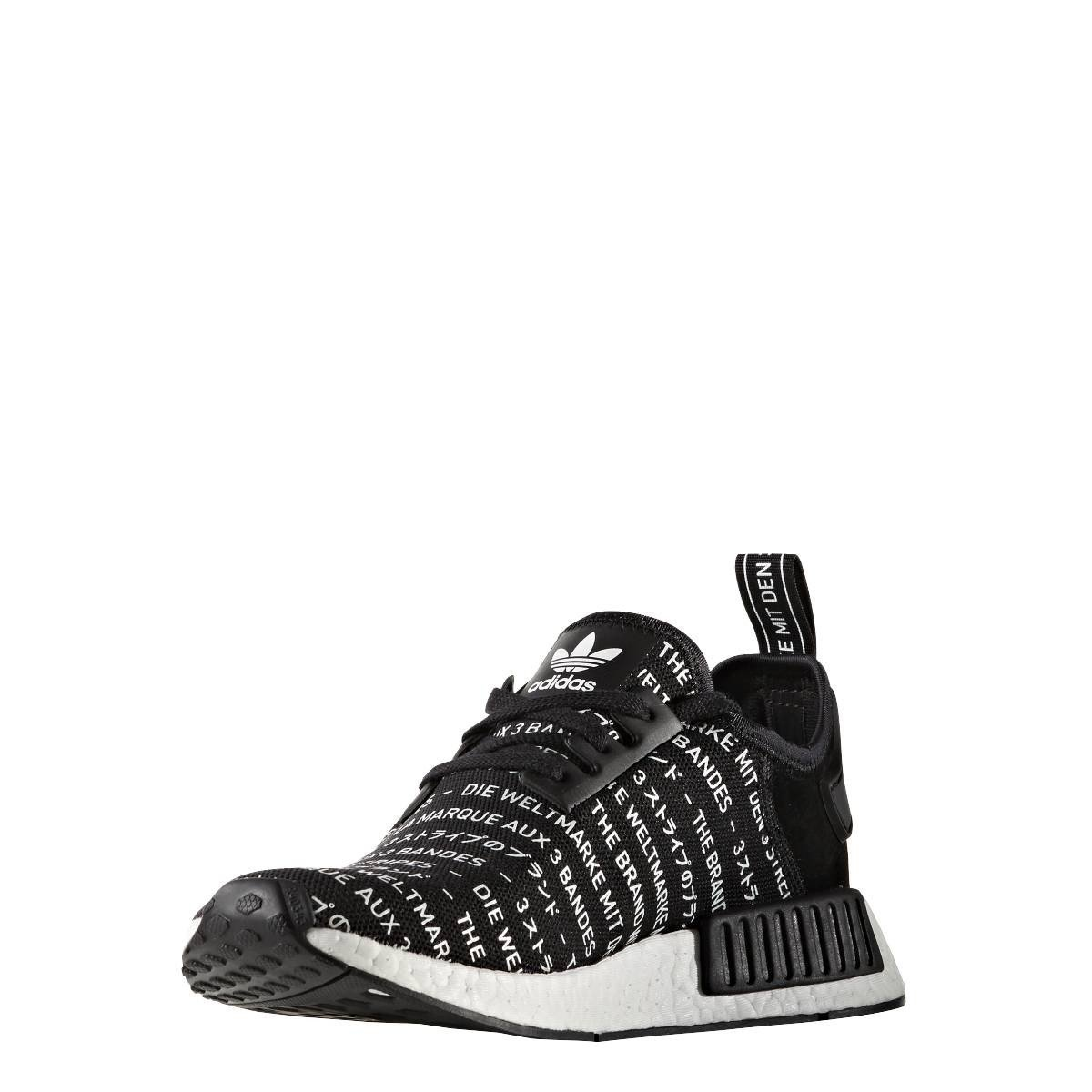 Adidas NMD R1 The Brand With The Three Stripes Blackout Black White  Trainer  Amazon.co.uk  Shoes   Bags b904b3b8cfc6