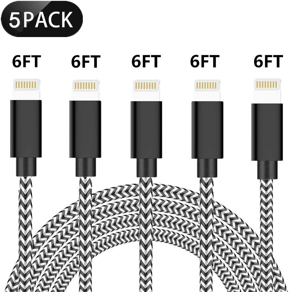 SHARLLEN iPhone Charger Cable Durable Lightning Cable 5Pack 6/6/6/6/6FT Long Nylon Braided USB iPhone Data Cable Fast Charging Cord Compatible with iPhone XS/MAX/XR/X/8/7/6/iPad/iPod (Black&White)