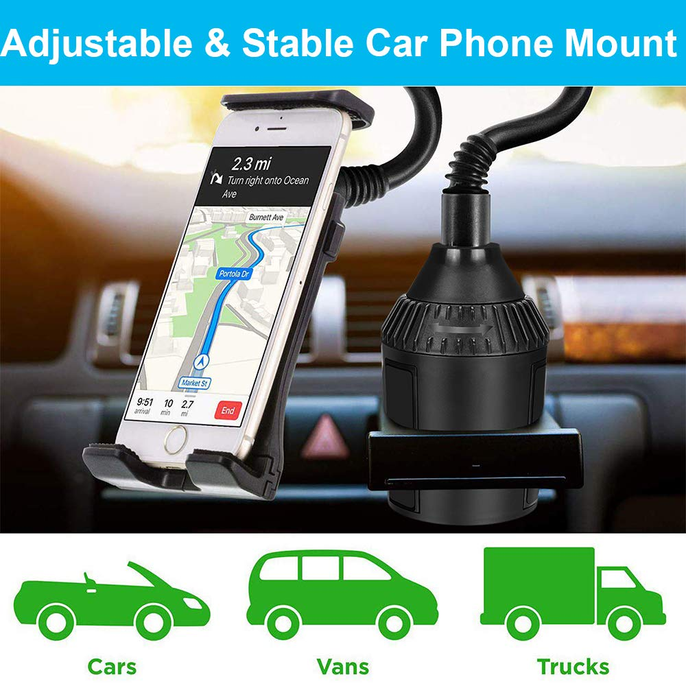 HCYANG Upgraded Cup Gooseneck Phone Holder Mount Adjustable Cell Phone Car Cradle for iPhone 11 Pro Xs Max Xr X 8 7 6 Plus, Galaxy s10 Plus 9 Note 8 9, Lg, Huawei, Google Pixel, Tablet