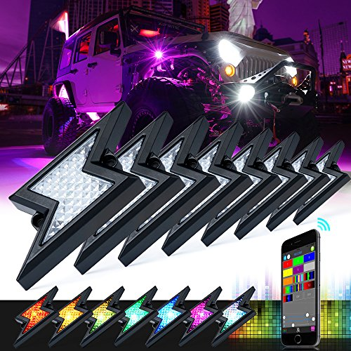 Xprite 8Pods RGB LED Rock Lights w/Bluetooth Outdoor Multicolor Lightning Kit,for Jeep Wrangler Off-road 5th-GEN Z-FORCE Rock Light Waterproof (Patent Pending Design)