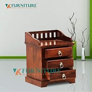 VK Furniture Sheesham Wood Bedside Table for Bedroom   Living Room   Wooden End Table   3 Drawer Storage   Dark Brown