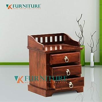5d754a234ea1 VK Furniture Sheesham Wood Bedside Table for Bedroom