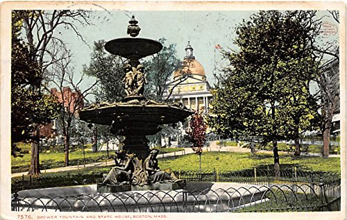 Brewer Fountain & State House Boston Massachusetts (Old Postcard Fountain)