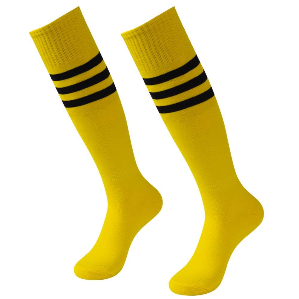 3street ユニセックス ニーハイ トリプルストライプ アスレチック サッカー チューブ ソックス 2 / 6 / 10組 B077PSZMM7 2 Pairs Bright Yellow 2 Pairs Bright Yellow