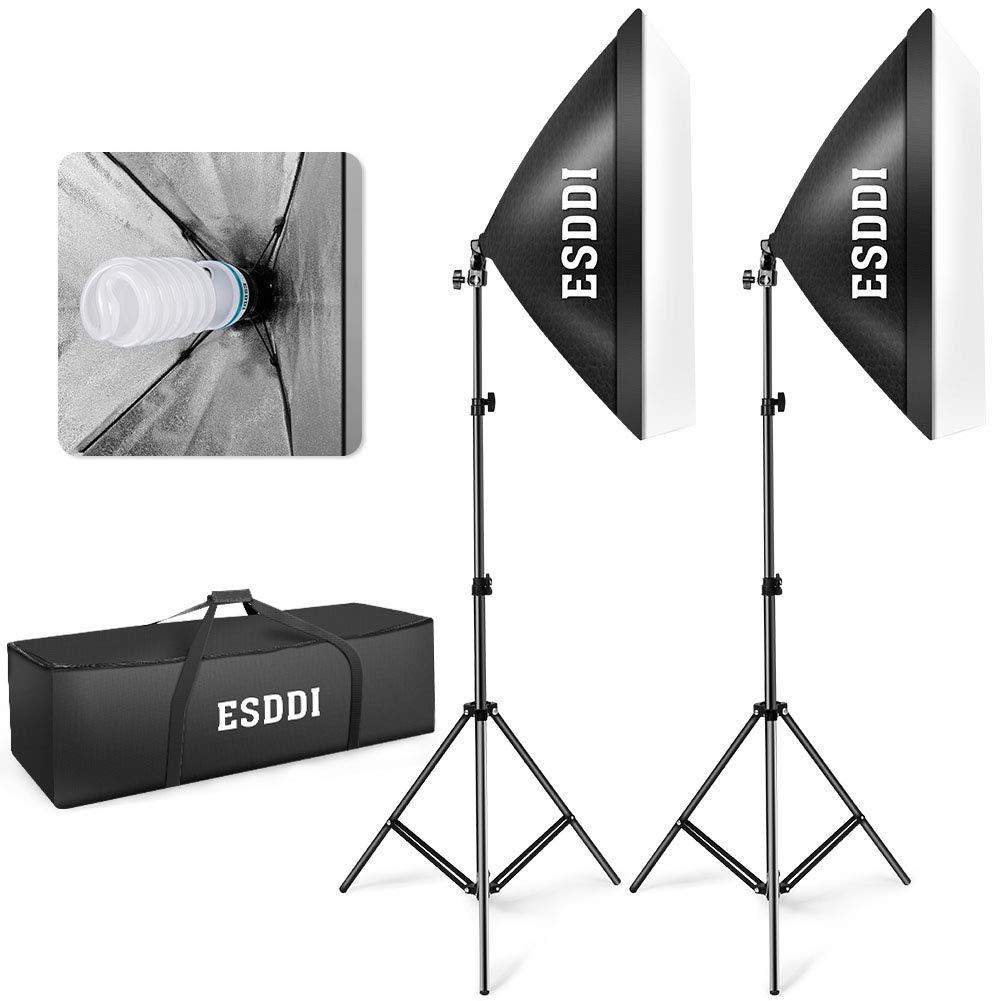 ESDDI 20''X28'' Softbox Photography Lighting Kit 800W Continuous Lighting System Photo Studio Equipment Photo Model Portraits Shooting Soft Box with 2pcs E27 Video Lighting Bulb by ESDDI