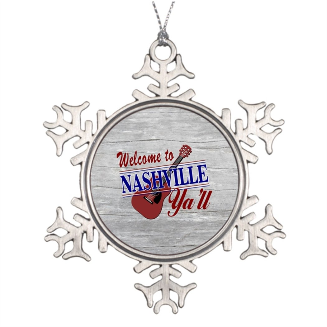 Personalised Christmas Tree Decoration Welcome to Nashville Yall 3 Inch Christmas Snowflake Ornament Tennessee