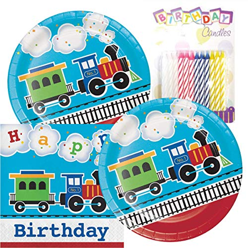 All Aboard The Train Birthday Theme Plates and Napkins Serves 16 With Birthday Candles