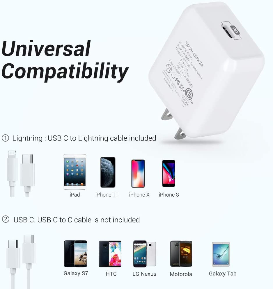 6FT C to Lightning Cable iPhone Fast Charger MFi Certified Power Delivery 3.0 Fast Charging Adapter for iPhone 11 Pro XR XS Max X 8 Plus iPad Pro iPad Air White Novtech 18W USB C Wall Charger