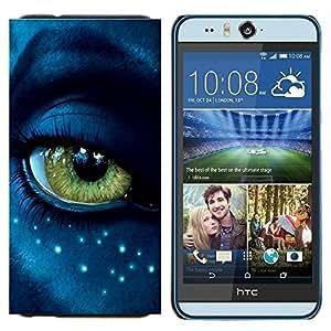 EJOOY---Cubierta de la caja de protección para la piel dura ** HTC Desire Eye M910x ** --Ojo extranjero de primer plano Azul Verde cara de las estrellas
